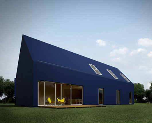 modern house with minimalist interior based on that of traditional Polish house via moomoo architect